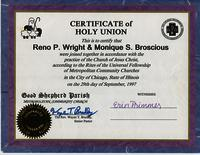 Certificate of Holy Union for Reno P. Wright and Monique S. Broscious
