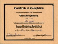 Certificate of Completion for the Orientation Ministry