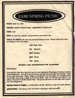 Zami spring picnic flyer