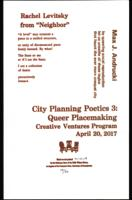 Broadside for City Planning Poetics 3: Queer Placemaking